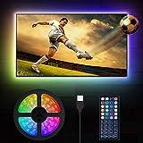 LED TV Hintergrundbeleuchtung, MustWin 3M USB TV Licht RGBW Beleuchtung für 32-60 Zoll LED Strip Dimmbar mit RF-Ferbedienung 6000K Kaltweiß, 6 Modi SMD 5050 für Fernseher PC Monitor Haus Deko