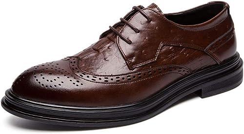 WMZMQ Chaussures de Ville Homme Cuir, Classique Derby Brogues Mariage Robeing Oxford à Lacets Resistant a l'abrasion Marron
