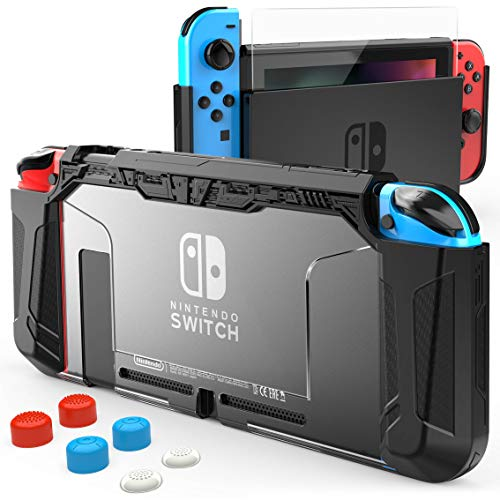 HEYSTOP Case Compatible with Nintendo Switch Case Screen Protector,TPU Protective Heavy Duty Cover Case for Nintendo Switch