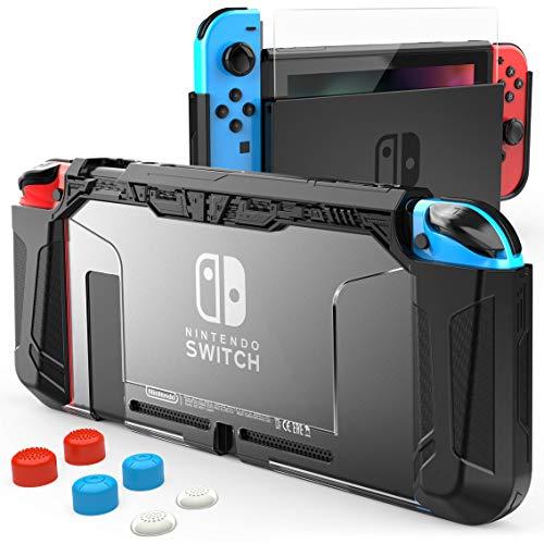HEYSTOP Custodia per Nintendo Switch, TPU Protettiva Cover Case per Console Nintendo Switch Utilizzabile nel Dock con Copri Analogico