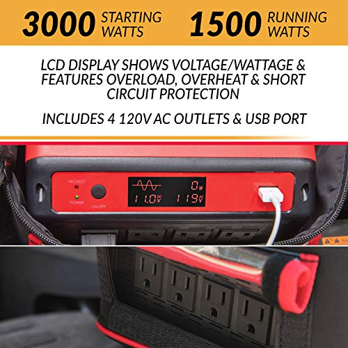 Handy Power X 1500 Watt Weather Resistant Pure Sine Wave Power Source Inverter Generator, 4 x 110V AC Outlets, Includes Heavy Duty Cables, Perfect for Outdoor RV/Van Camping, Emergency and Job Site