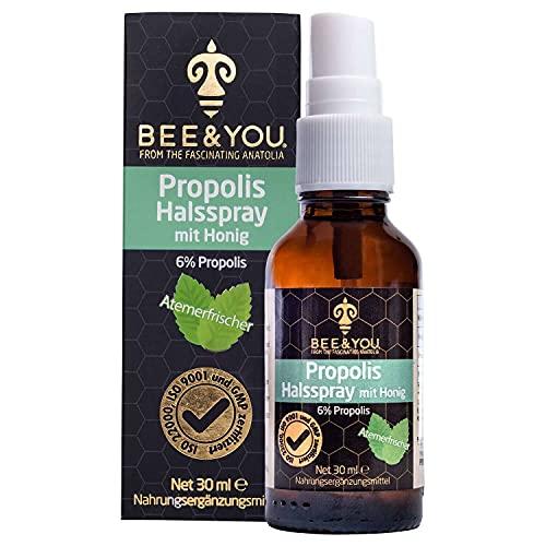 Bee&You Propolis Halsspray mit Honig (6{61d01b04a065cd806fbbb62933018c65a93ccdab06bc2525f2b91ed120a30e99}) 30 ml (Wohltuende Zusammenmischung, Fairer Handel, Natürliche & kontrollierte Zutaten)