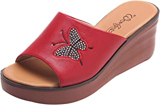 Sandal Soft Foam Sole Pool Shoes,Slippers Wearing Thick Bottom Wedge Leather Middle-Aged Sandals-39_big Red