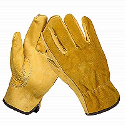 GeKLok Robuste Gartenhandschuhe für Herren und Damen, 1 Paar Thorn Proof Leder Arbeitshandschuhe, Schmalem verstärkte Rigger Handschuhe Wasserdicht, Robust und Flexibel