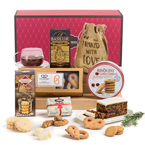 Traditional Christmas Afternoon Tea Time Treats Biscuits and Cake Hamper Box