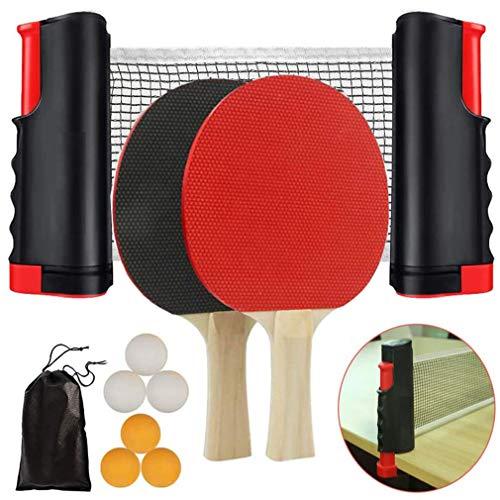 Tecreo Instant Tischtennis Set Ping Pong Set inkl. Ausziehbare Tischtennisnetz 176cm (max) 2 Tischtennisschläger und 6 Bälle, Freizeitsport