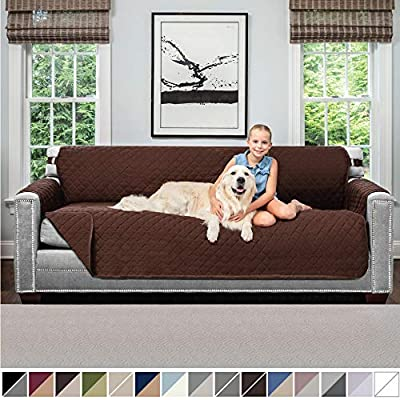 Sofa Shield Original Patent Pending Reversible X-Large Oversized Sofa Protector for Seat Width up to 78 Inch, Furniture Slipcover, 2 Inch Strap, Couch Slip Cover Throw for Dog, Pets, Sofa, Chocolate