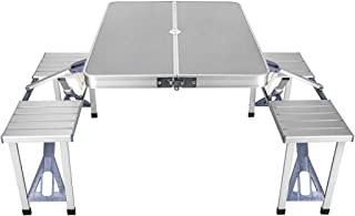 Outdoor Folding Table with Chairs - Integrated, Compact Design, Aluminum Alloy, Portable Camping Table, Foldable Table Out...