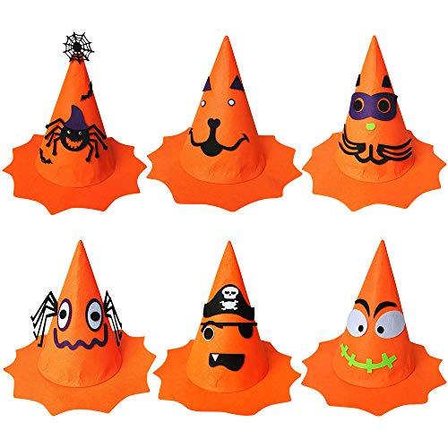 6 Piezas Sombreros de Bruja de Halloween Gorro de Bruja de Mujer Sombrero de Calabaza de Halloween, Accesorio de Disfraz para Favor de Fiesta de Halloween para Niños para Carnaval Decoración