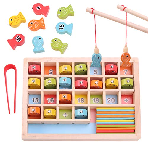 GEMEM Wooden Magnetic Fishing Game, Number Fish Catching Counting Preschool Games for Kids Math Manipulatives Education Fine Motor Skills Toys for 3 4 5 6 Year Old Boy Girl