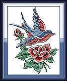 Kit de punto de cruz con sello de 11 quilates, para manualidades, costura, gama completa de kits de bordado para principiantes, patrones preimpresos – pájaro 20 x 25 cm