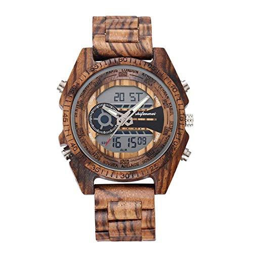 DZNOY Reloj de madera Reloj de madera para hombre, reloj de pulsera deportivo militar, reloj de cuarzo para hombre, reloj de bolsillo de madera (color: cebra sin caja)