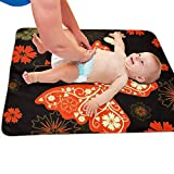 Zcfhike Baby Portable Diaper Changing Pad Orange Butterfly Urinary Pad Baby Changing Mat 31.5' x25.5''