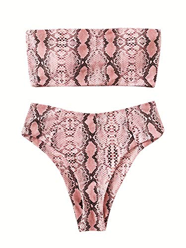 SweatyRocks Women's Sexy Bandeau Bikini Set High Waisted Snakeskin Two Piece Bathing Swimsuits Snakeskin L