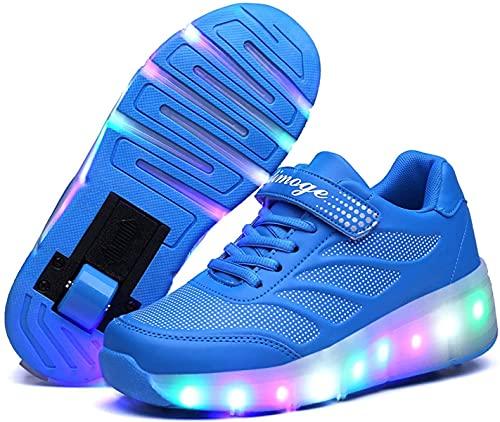 BHDYHM VIIPOOZapatos De Rodillos para Niños Zapatos De Patines para Niños Zapatos para Niños con Ruedas Sport Roller Shoes con LED, para Niños Regalo,Blue-29