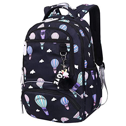 Cobeky Mochila escolar grande para estudiantes de escuela, mochila impresa impermeable, mochila de escuela primaria, bolsas para libros para adolescentes y niños, globo de aire caliente, color negro