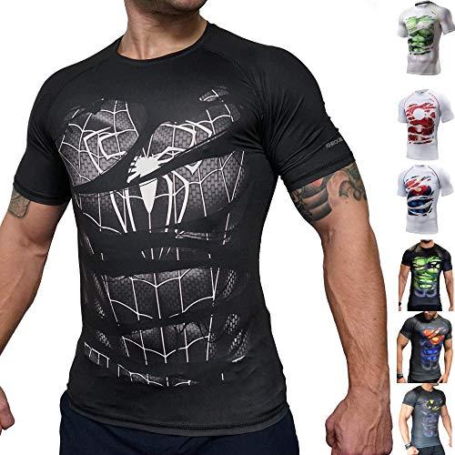 Khroom T-shirt de Compression de Super-héros pour Homme | Vêtement Sportif à Séchage Rapide pour Fitness, Gym, Course, Musculation. Matériel Extensible et Ventilé Anti Transpiration Spiderman noir XXL