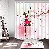 Wdoci 2-teiliges Duschvorhang-Set,Schmetterlingsfee Ballerina Prinzessin Tänzer Blumenzweig Blumen Badezimmer Anti-Rutsch-Badematte + Duschvorhang mit 12 Haken(150x180cm)