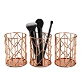 Rose Gold Makeup Brush Holder (3-Pack) - Beautiful Pen and Pencil Holder for Home and Office - Rose Gold Desk Organizer and Brush Holder for Vanity