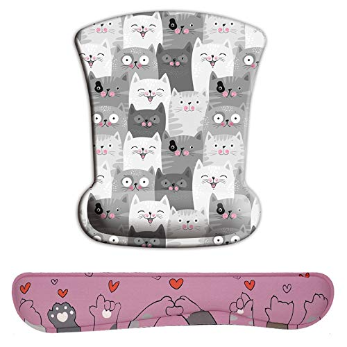 Waldeal Cute Cat Head Hand Wrist Rests Support and Keyboard Mouse Pad Set for Office, Gaming, Typing, Relieve Wrist Pain, Desk Decor for Women and Men