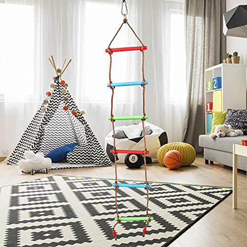 RedSwing 6.6 Ft Climbing Rope Ladder for Kids, Climbing Ladder for Swing Set, Hanging Rope Ladder with 1 Strap, Great for Play Set, Outdoor, Tree House, Playground, Ninja Slackline