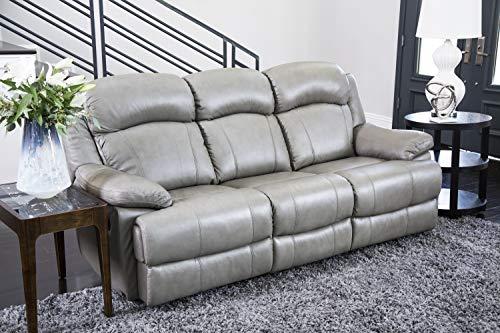 Abbyson Living Premium Top Grain Leather Reclining Sofa, Grey