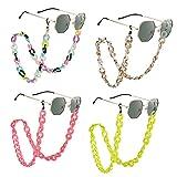 Weinsamkeit Cadenas de Gafas, 4 Piezas Ajustable Cordón de Retenedor de Gafas de Sol, Antideslizante Cuerda de Gafas de Lectura Cuello Correa para Mujer