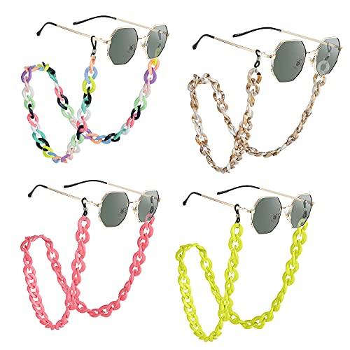 catena occhiali Weinsamkeit 4 Pezzi Catena per Occhiali da Vista in Acrilico Retro
