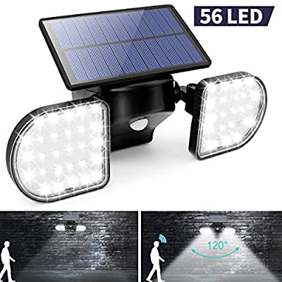 Solar Security Lights Motion Sensor Outdoor, Rotatable Dual Head Detected Flood Lights,56 LED IP65 Waterproof Solar Powered Wall Spotlights for Garage, Porch, Yard,Deck,Patio