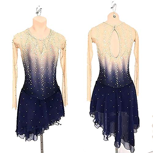 Rmckj-M Handgemachte Eiskunstlauf Kostüm Maßgeschneiderte Eiskunstlauf Kleid Für Mädchen Und Frauen Ice Dance Kostüm Langarm Mit Kristallen,Blue-XXL