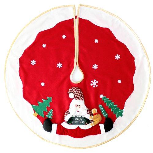 WeRChristmas Decke für Weihnachtsbaum 100 cm, groß, als Dekoration, 3D-Weihnachtsmann- und Schnee-Motiv, Rot