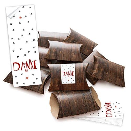 10 kleine bruine geschenkdozen geschenkdozen houten look 14,5 x 10,5 cm ca. 3 cm + 10 bandjes 5 x 15 cm Danke rood grijze harten doos voor geschenken give aways cadeautje