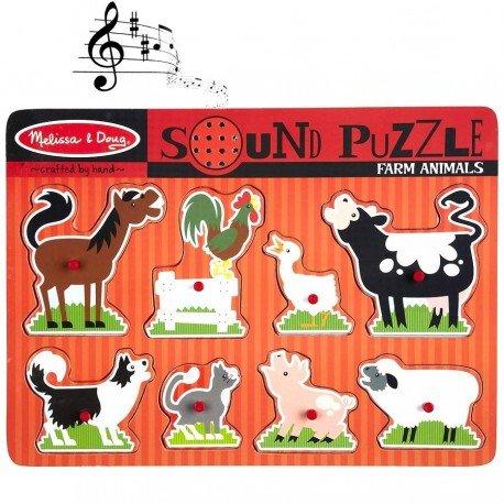 Melissa and doug - PUZZLE SONORE Puzzle en bois ANIMAUX FERME 8 pièces Jeu d'éveil éducatif pour enfant dés 2 ans +