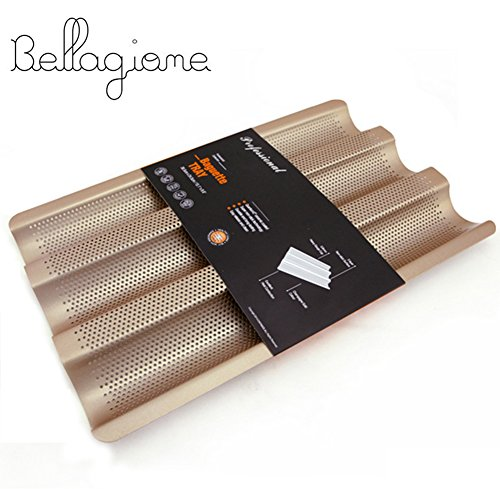 Perforated Baguette Pan Nostick French Bread Pan 3slot Bake Loaf Mould 15inch Carbon Steel Bread Baking Pans by Bellagione