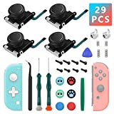 4 Pack Joycon Joysticks, Replacement Joystick Analog Thumb Sticks for Nintendo Switch Joycon and Switch Lite, Joy Con Repair Kit Include Metal Buckles, Screwdrivers, Pry Tools, Thumb Grips Caps