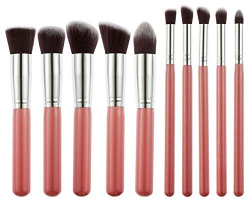 Bigood 10Pcs Pinceaux Set Maquillage Professionnel Kit Brosse Cosmétique Voyage