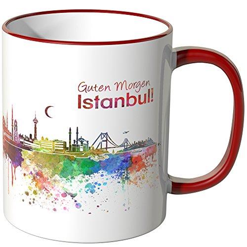 WANDKINGS® Tasse, Schriftzug Guten Morgen Istanbul! mit Skyline - ROT