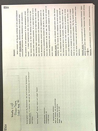 Wassergehalt und CO2-Gaswechsel des poikilohydren Kormophyten Ramonda myconi (L.) Schltz. während der Austrocknung und Wiederaufsättigung. Verhandlungen der Ges. Für Oekologie