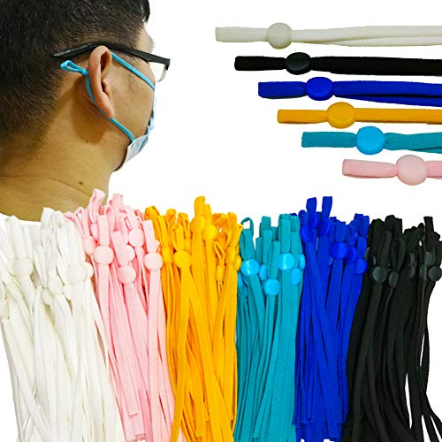 120 Pcs Lengthen Elastic Band for Masks, 1/5 Inch Elastic Ear Loops Straps with Adjustable Buckles, 6 Colors High Stretch Elastic Cord String Suitble for Adults and Kids