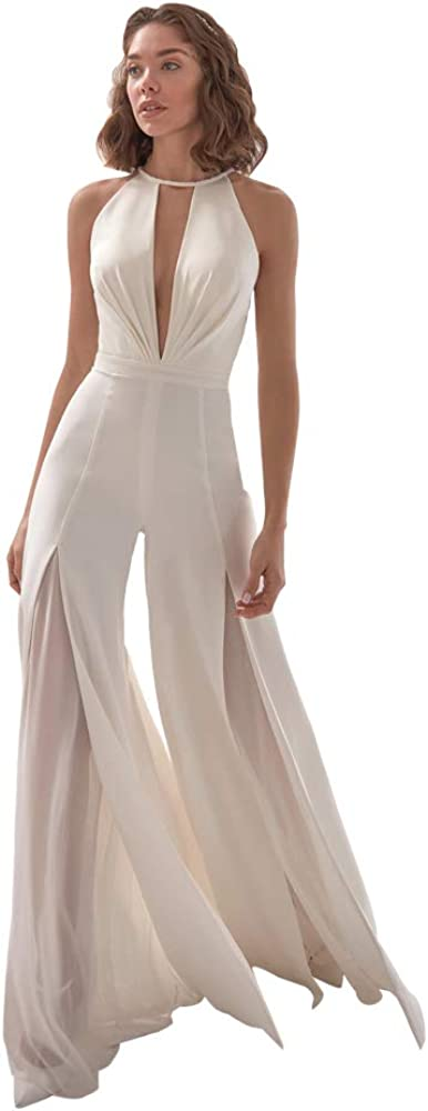 NIINSVVN Women's New Limited time for free San Antonio Mall shipping White Sexy Deep V Halter Casu Neck Jumpsuit