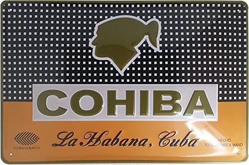 Cohiba ZIGARRE - Cartel de chapa para puerta o pared, diseño retro con texto en relieve de alta calidad, 30 x 20 cm