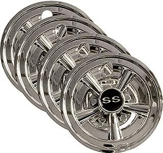 "3G Set (4) 8"" SS Chrome Wheel Covers for EZGO, Club Car and Yamaha Golf Carts"
