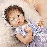 Way bocke 58Cm Réaliste Saskia Reborn Baby Dolls Blond Girl Newborn Doll Soft Full Silicone Réaliste Nourrir Poupées Blue Eyes Weighted Toddler Doll Cadeaux De Noël Jouets pour Enfants, 22 Pouces