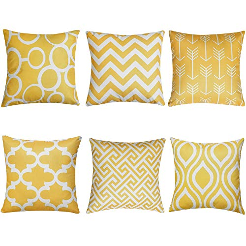 QUALKNOY Yellow Cushion Cover Decorative Square Stylish Throw Gray Pillow Cases Home Decor 45 x 45 cm For Sofa Outdoor Bedroom Terrace Chair With Invisible Zipper 18 x 18 Inch - Set of 6