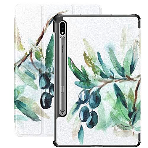 Funda para Samsung Galaxy S7 Plus con Soporte para bolígrafo S Olive Twig PU Funda de Cuero para Samsung Galaxy Tab S7 Plus 12.4 Pulgadas 2020, Funda para Samsung Galaxy Tab S7 Plus con activación /