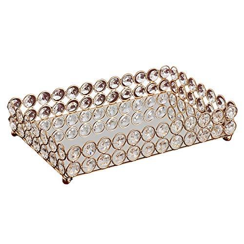 Generic Dekorative Make-Up Eitelkeit Schalen Kristall Gespiegelt Kosmetik Schmuck Schmuckstück Verzierten Parfüm Platte für Kommode-3 Sise - 25x15x5cm