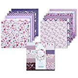 YARUMI Purple Scrapbook Paper Pad, Violet Bloom Pack of 24 Scrapbook Paper Pack Floral Patterns Paper One Side Prints Cardstock for Holiday Cardmaking, 6 Inches Decorative Craft Paper DIY Origami