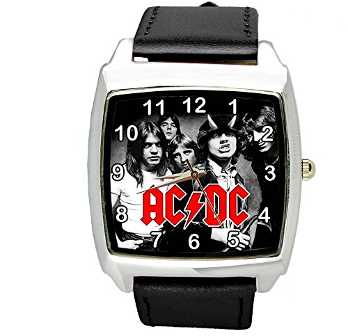 TAPORT® Herren Uhr Analog Quarzwerk mit Leder Armband ACDC Schwarz Quadrat