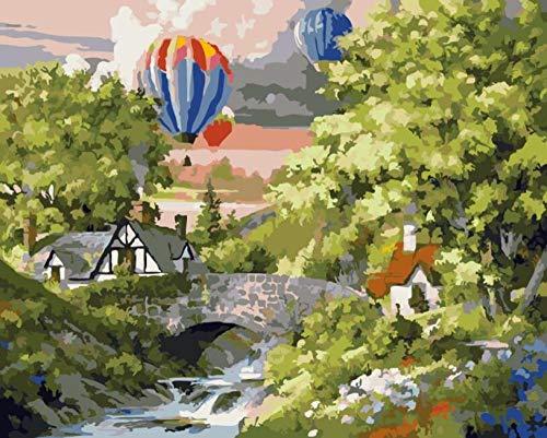 Schilderen op cijfers voor kinderen, volwassenen, olieverfschilderij, knutselen, geschenken, decoratie, huis, kantoor, kracht voor heteluchtballon, zonder lijst, 40 x 50 cm