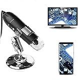 Microscopio Digital USB, 50X a 1600X endoscopio con Estuche y Soporte ,8 LED USB 2.0 Cámara de endoscopio de Aumento compatible con teléfonos Android OTG Windows 7, 8, 10, Linux Macio de Aumento